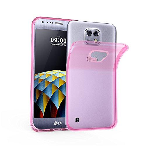 Cadorabo Custodia per LG X Cam in Rosa Transparente - Morbida Cover Protettiva Sottile di Silicone TPU con Bordo Protezione - Ultra Slim Case Antiurto Gel Back Bumper Guscio