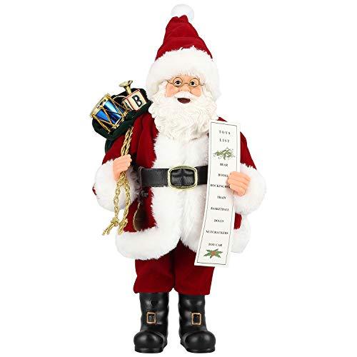 Uten Santa Claus Figura Bolsa de Regalo de pie y Cuerno 11 Pulgadas Muñeca de Santa Figura Adorno de Navidad Decoración del hogar Muñeca de Navidad