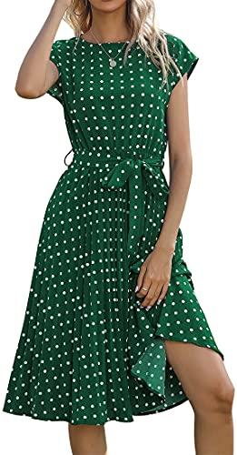 YINGKE Mujer Vestido Casual Vestido Lunares Cuello Redondo Vestido Largo de Verano Vacaciones Fiesta Retro Chic Casual Cómodo, Verde L