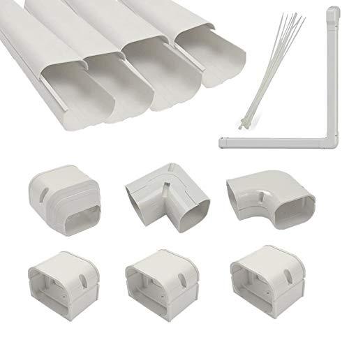 Jeacent 3'W 11.3Ft PVC AC Line Set Cover Kit Tubing Cover for Mini Split, Central Air Conditioner, Heat Pump