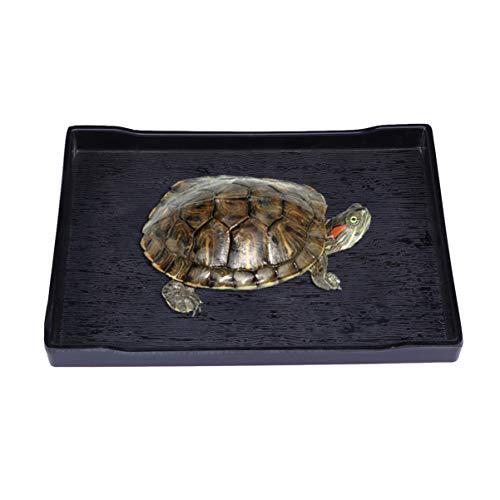 Balacoo Reptiliennapf – Große Reptilienschildkröte Futter- und Wassernapf – Haustier Supplies – Größe M (schwarz)