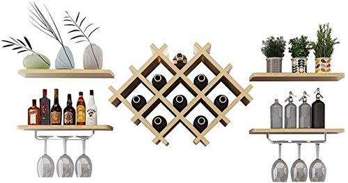 HFTD Enfriador de Vino Moderno montado en la Pared, botellero de Madera, Soporte de exhibición Minimalista, Soporte de Copa de Vino Colgante, Estante de Almacenamiento para Sala de Estar Diseño m