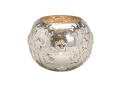 MaRab Windlicht Sterne Dekor Auch für Weihnachten Aus Glas Bauernsilber ca.(B/H/T) 13x10x13cm Deko für Terrasse, Tisch- Deko Und Garten