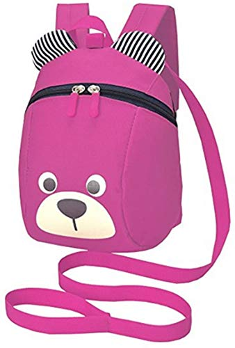 Evedaily Toddler Reins Backpack Boys Girls Dinosaur Bear Backpack, Cartoon Safety Anti-Lost Strap Rucksack with Reins (Pink)