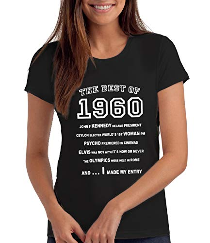 "Da Londra Camiseta para Mujer The Best of 1960"" para Regalo de 60 Cumpleaños: BK, XL"