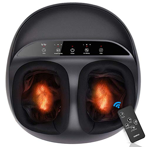 Renpho foot massager machine, upgrade heat for full foot, shiatsu deep kneading, multi-level settings, delivers relief for tired muscles and plantar fasciitis, fits feet up to men size 12