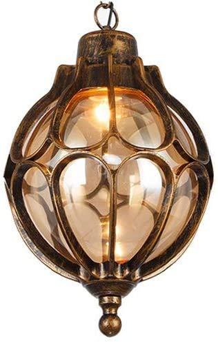Hängelampe Vintage Schwarz Gold Außen/Innen Wasserdichter IP54 Pendellampe E27 Aluminium/Glas Retro Hängelleuchte Pavillon Villa Flur Grape Rack Balkon Dekorative Hängelampe 18 * 33 Cm