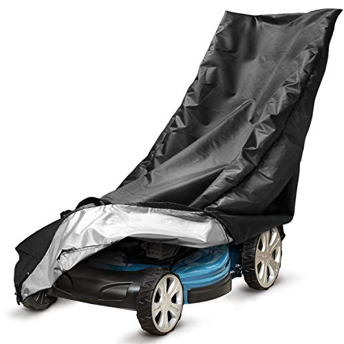 Huttoly Lawn Mower Cover Push Mower Cover, Waterproof Heavy Duty Polyester Oxford Lawnmower Covers UV Protection Universal Fit Push Lawn Mower Cover with Drawstring & Windproof Buckle