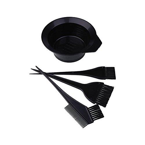 Dealglad Kit de 4 outils de coloration pour cheveux : petit pinceau, grand pinceau, bol et peigne