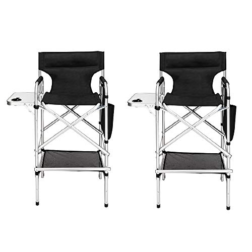 "Mefeir 2 PCS 31"" Tall Upgraded Director Makeup Artist Chair Bar Height, Aluminum Frame Supports 300 lbs, Folding Portable with Side Table Storage Bag Black,33.8"" L x 19.2"" W x 45.6"" H"