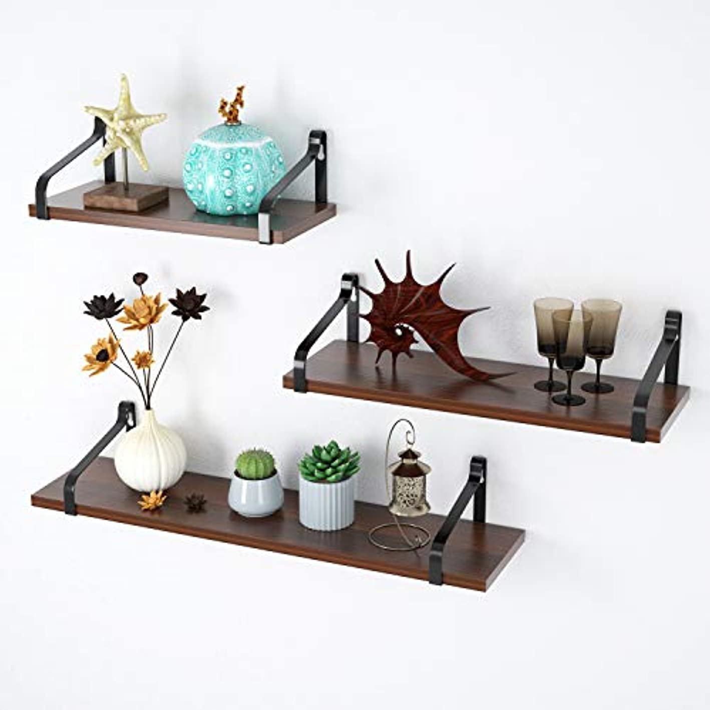 MVPower Floating Shelves Industrial Wall Mounted Rustic Wood Wall Storage Shelf Set for Picture Frames, Hanging Shelves Set of 3 Display Ledge Decorative Shelves Ideal for Home and Office (Retro)