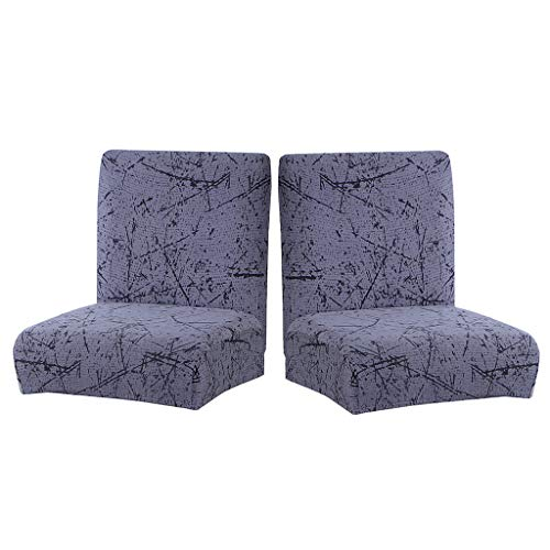 MERIGLARE 2pc Low Back Furniture Dining Chair Slipcover Stretch Polyester Bar Stool Covers
