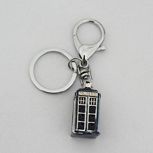 Dr Who Tardis inspiré 3D Porte-clés Dr mystérieux Antique Doctor Who Tardis Police Box 3D en métal cupreous Pendentif porte-clés Cosplay