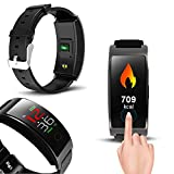 Indigi Smart Bracelet Exercise & Fitness Tracker Watch Pedometers for iPhone & Android (Black)