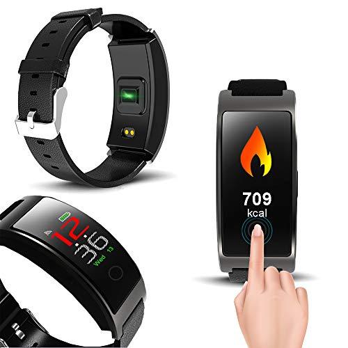 indigi CX - Reloj de Pulsera de Actividad Universal para SMS/Alerta de Llamadas, IP67, rastreador de Actividad Impermeable [Ritmo cardíaco + presión Arterial + oxígeno sanguíneo (SP02) + podómetro]