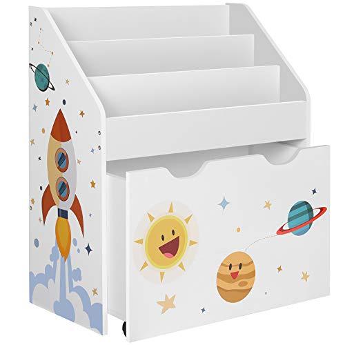 SONGMICS Estantería de Juguetes con 3 Compartimentos, Librería Infantil, Caja de Juguetes Móvil, con Ruedas, Multifuncional, para Habitación de los Niños y Sala de Juegos, Blanco GKR41WT