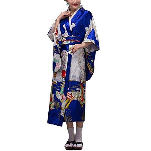 Fancy Pumpkin [Geisha] Albornoz Kimono Yukata de Estilo japonés para Cosplay, Royalblue