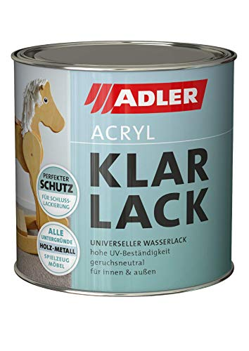 ADLER Acryl Klarlack Glänzend 125 ml - Acryllack mit Grundierwirkung, Grund- und Decklack für innen und außen - Wetterfester Lack für Holz, Metall & Kunststoff
