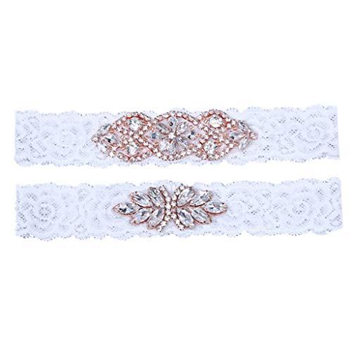 Unbekannt Hochzeit Strumpfband, Sunday 2pcs Braut Strumpfband Brautkleid Sexy Elegante Elastisch Spitze Strass Strumpfband (Rose Gold)