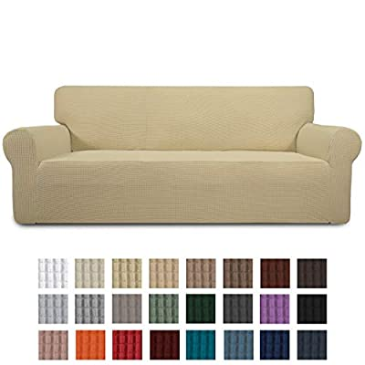 Stretch Slipcovers, Sofa Covers, Furniture Protector with Elastic Bottom, Couch, Pets Shield, Polyester Spandex Jacquard Fabric Small Checks by Easy-Going