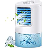 GREATSSLY Air Conditioner Fan, Portable Air cooler Small Desktop Fan 3 Degree Changeable Angle Adjustable Compact Super Quiet Personal Table Fan Mini Evaporative Air Circulator Cooler