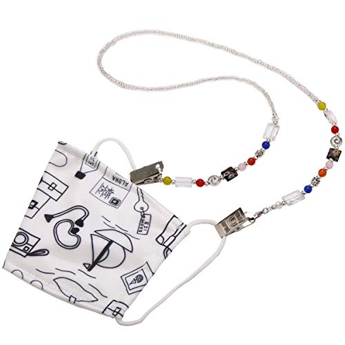 Face Mask Holder Artistic Beaded Necklace Strap Handmade Chain Decorative Fashion Leash Holds Face Mask Around Neck