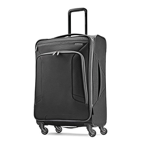 American Tourister 4 Kix Softside Luggage, Black/Grey, Checked-Medium