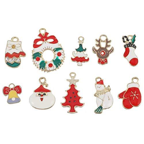 20 piezas de Navidad DIY encantos colgante de aleación esmalte encantos DIY collar pulsera pendientes accesorios de fabricación de joyas