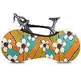 Cubierta de rueda de bicicleta Patrón sin costuras Troal Flores Hojas de palma - Polvo Bolsa de almacenamiento interior para bicicletas Paquete de llantas de alta elasticidad lavables a prueba de ra