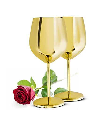 Sendez 2 copas de vino de 510 ml, de acero inoxidable, irrompibles, color dorado