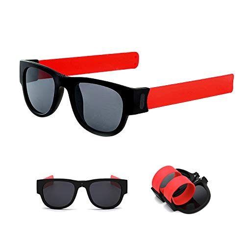 Tusenpy Gafas de Sol Plegables,Gafas de Sol Plegables de Pulsera Unisex (Rojo)