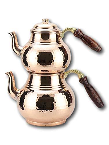 Turkische handgefertigte rote Tattoo-Teekanne mit gesticktem Stern aus grossem Kupfer und schwarzem Holzgriff 2,7 L