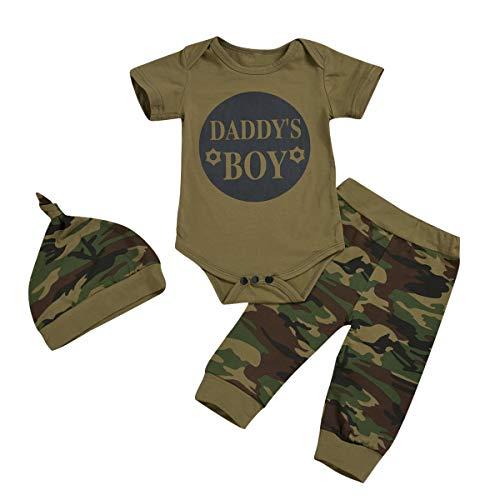Borlai Baby Mädchen Jungen Anzug Mode Camouflage Strampler + Lange Hosen + Hut Outfits Kleidung Set 0-24 Monate Gr. 0-6 Monate, Daddys Boy