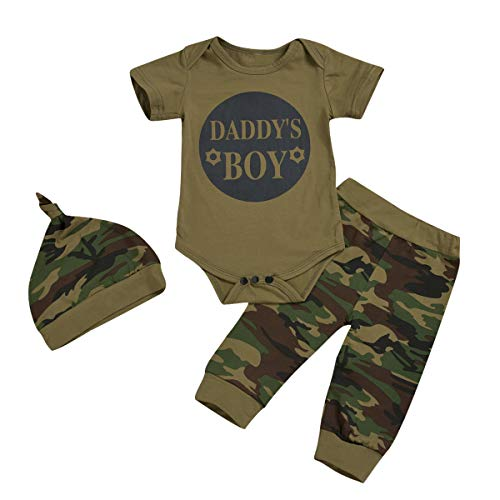 Tianhaik Baby Jongen Meisje Camouflage Outfits Korte Mouw Romper Jumpsuit Broek Hoed Casual Kleding