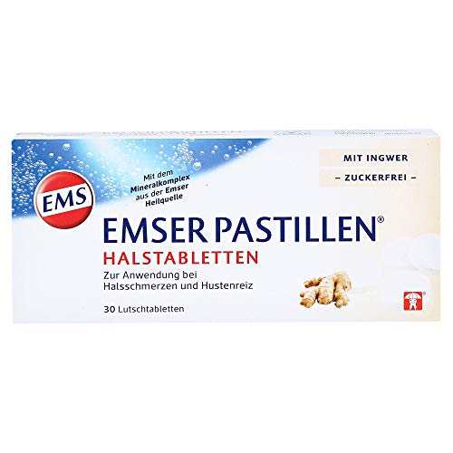 Emser Pastillen Halstabletten mit Ingwer, zuckerfrei – Bei Halsschmerzen, Hustenreiz und Schluckbeschwerden – 30 Stück
