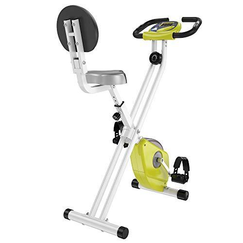 homcom Cyclette Magnetica Pieghevole in Acciaio con Altezza e Intensità Regolabile, Schermo LCD, Gialla, 43x97x109cm