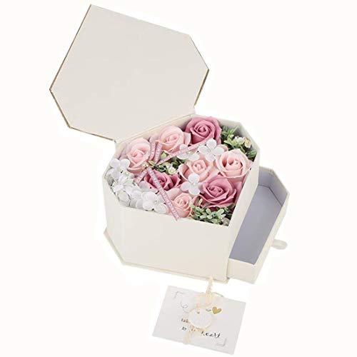 Wifehelper Jabón de Flores de Rosas Hecho a Mano Caja en Forma de Corazón Regalo Romántico con Jabón de Cajón Decoración de la Boda Día de la Madre Día de San Valentín (Rosa)
