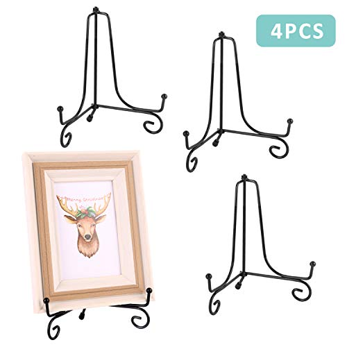 Mejor LIONWEI LIONWELI Black Decorative Plate Stand Holder Picture Frame Stand Easel Display Stand crítica 2020