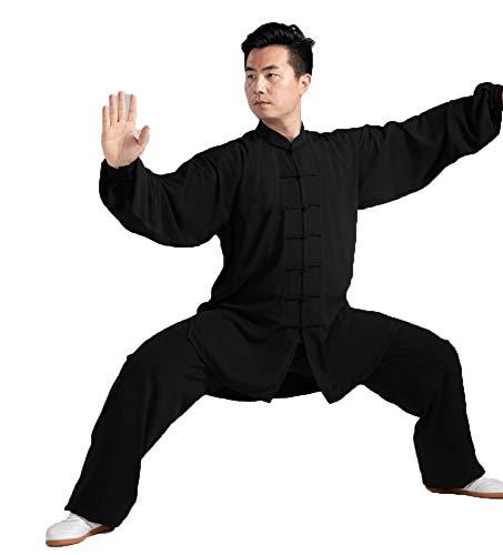 tai chi Damen Herren Anzug Shaolin Wushu Training Uniform Kung Fu Uniform Kampfsport Kleidung,Seidig, Atmungsaktiv Und Weich, Baumwolle Plus Seide, Erwachsene,Black-XXXL
