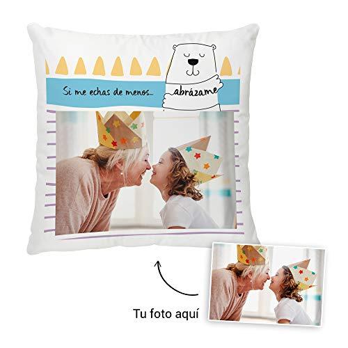 Fotoprix Cojín Personalizado con Foto a Partir de un diseño | Te Echo de Menos, Miss You | Regalo Original | Varios diseños y tamaños (Abrázame, 35 x 35 cms)