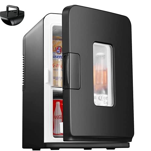 Mini Frigo de Chambre 12V/220V, 15L Mini Réfrigérateur Portable avec Fonction Chaud/Froid, Glacière Électrique Silencieux avec ECO Mode pour Chambre, Étagère Démontable
