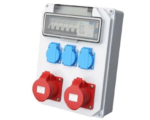 Wandverteiler FI 2x16A + 3x230V Stromverteiler Baustromverteiler Feuchtraumverteiler Komplett AWVT10