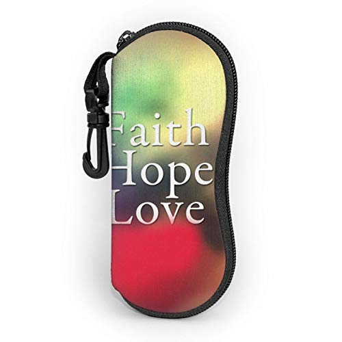 Gafas de sol caso de gafas con clip de cinturón Faith Hope Love iluminación colorida cremallera ultra ligero gafas bolsa