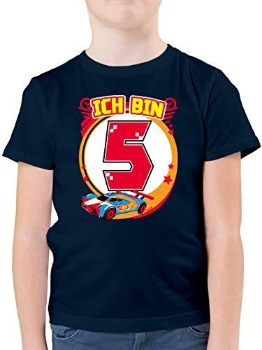 Hot Wheels Jungen - Ich Bin 5 - Rennauto - 116 (5/6 Jahre) - Dunkelblau - Jungen Tshirt 116 - F130K - Kinder Tshirts und T-Shirt für Jungen