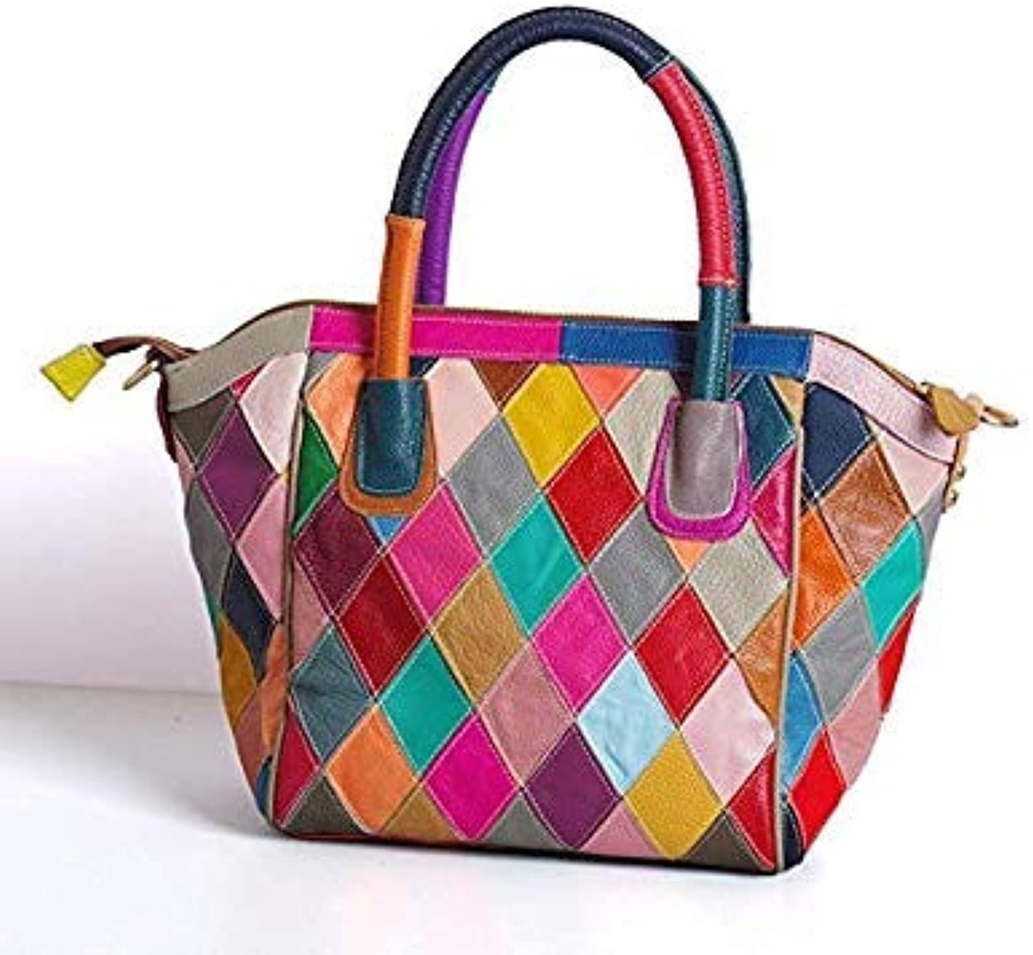 Bloomerang CHSANATO Drop Shipping Real Cow Leather Tote Bags for Women Ladies Handbags Geometric Patchwork colorful Plaid Woman Bag color K357 colorful 26x40x27x14cm