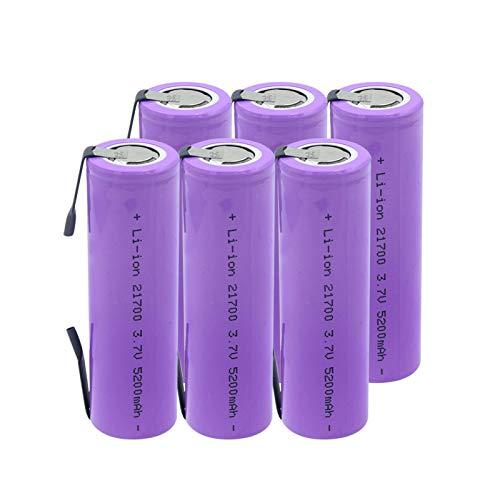 CNMMGL Batería De Litio De 3.7v 5200mah 21700, Alto Drenaje 20a Recargable para La Batería De La Linterna 6pcs