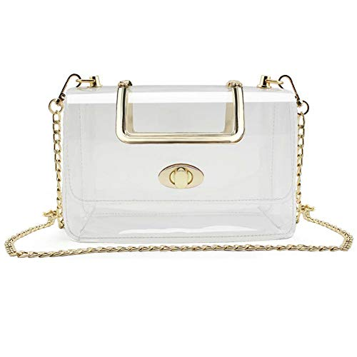 S SUNINESS Clear Purse Stadium Bag - Women Ladies Transparent Crossbody Handbags with Removable Long Chain (Clear Purse)
