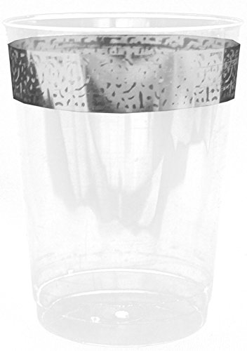 Decorline-Stoviglie plastica Deluxe- per feste decorate-Party -Piatti di plastica bianco usa e getta con bordo del merletto in argento- Inspiration Collection (bicchiere di plastica cristallo monouso 280ml)