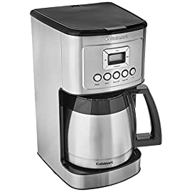 Cuisinart DCC-3200BKSP1 Perfectemp Coffee Maker, 14 Cup Progammable with Glass Carafe, Black Stainless Steel 1 12-Cup Thermal Carafe with decorative stainless steel handle Hotter Coffee with expert coffeemaking technology to ensure hotter coffee temperature without sacrificing flavor or quality Brew Strength Control allows you to select Regular or Bold coffee flavor