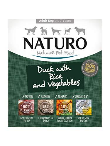 Naturo – Comida para Perros Adultos con Pato, arroz y Verduras – Paquete de 7 x 400 g – Total 2800 g